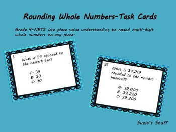Rounding Whole Numbers-Task Cards