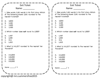 Rounding Whole Numbers Task Cards, Exit Ticket, and Performance Task
