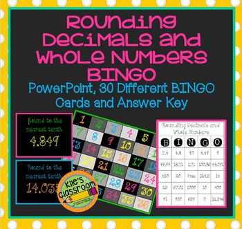 Rounding Whole Numbers and Decimals BINGO PowerPoint Game