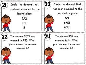Rounding Whole Numbers and Decimals Task Cards