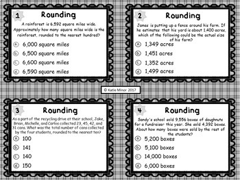 Rounding Word Problem Task Cards - Multiple Choice {4.OA.A.3}