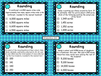 Rounding Word Problem Task Cards - Multiple Choice {4.NBT.A.3}