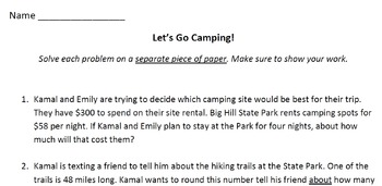 Rounding Word Problems--Let's Go Camping! (NBT3)