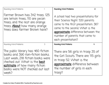Rounding Word Problems Practice FREEBIE