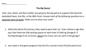 Rounding Word Problems--The Big Game!
