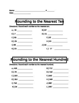 Rounding Worksheet - Practice Problems