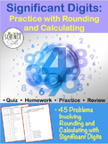 Significant Figures Worksheet or Quiz - Rules of Rounding and Calculations