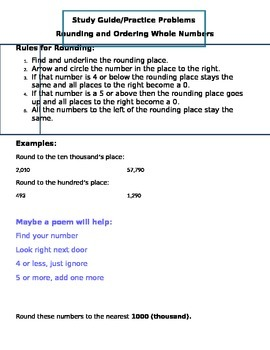 Rounding and Comparing Whole Numbers Study Guide and Practice Sheets