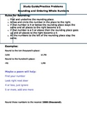 Rounding and Comparing Whole Numbers Study Guide and Pract