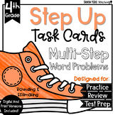 Rounding and Estimating Math Multi-Step Word Problems Task Cards 4.NBT.3