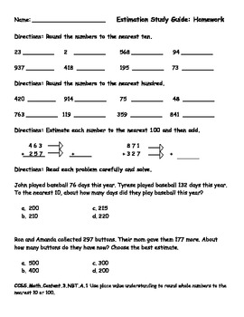 Rounding and Estimating Numbers: Study Guide and Test