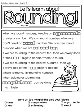 Rounding and Estimating Numbers: a file folder activity for third-fourth grade