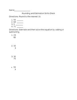 Rounding and Estimation Skills Check