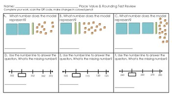 Rounding and Place Value Review with QR Code