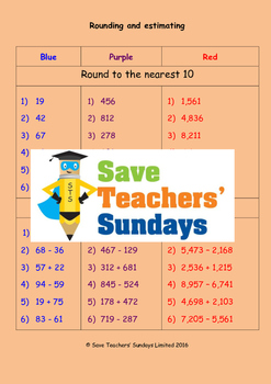 Rounding and estimating worksheets (3 levels of difficulty)