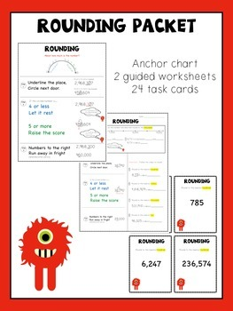 Rounding in the Millions - anchor chart, worksheets, task cards