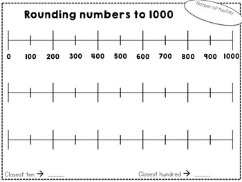 Rounding numbers to 1000 using number lines (French & English)