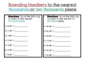 Rounding numbers to the nearest thousands and ten thousands place worksheet