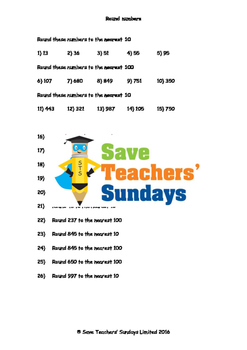 Rounding Numbers Worksheets (4 levels of difficulty)