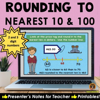 Rounding on a Number Line PowerPoint and Printables