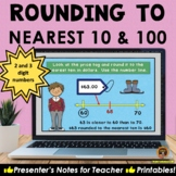 Rounding to the Nearest 10 and 100 on a Number Line POWERPOINT and Worksheets