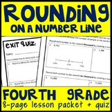 Rounding on a Number Line, 8-Page Lesson Packet & Quiz, 4.NBT.3