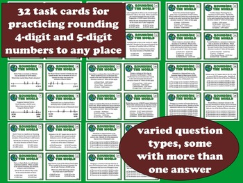 Rounding the World - reasoning about rounding task cards & printables (set b)