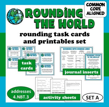 Rounding the World - rounding whole numbers task cards & p