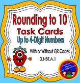 Rounding to 10 Task Cards (up to 4-digit numbers) with and without QR Codes