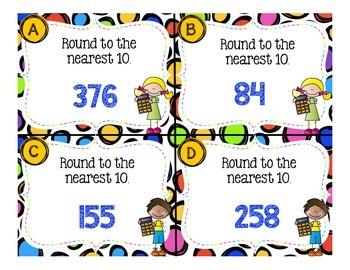 Rounding to Nearest 10 Task Cards (3.NBT.1)