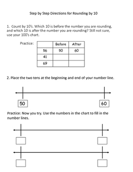Rounding to 10 on a Number Line Interactive Notebook - 3.NBT.A.1