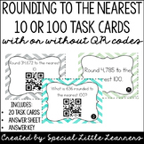 Rounding to 10 or 100 Task Cards {With or Without QR Codes}
