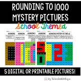 Rounding to 1000 Printable or Digital Mystery Pictures: School Theme