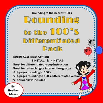 Rounding to 100's Differentiated Pack - Great for Intervention Groups