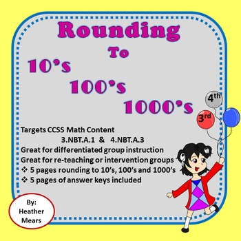 Rounding to 10's 100's 1000's  Great for Intervention Groups