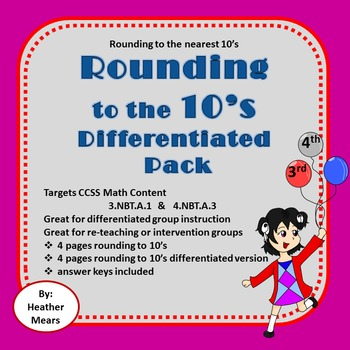 Rounding to 10's Differentiated Pack - Great for Intervent