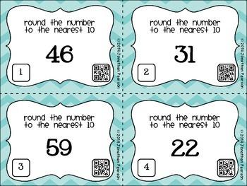 Rounding to 10s Place - 24 Task Cards for Centers and Review - With QR Codes