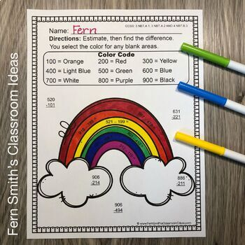 Color By Numbers Rounding to Estimate Differences Color By Code Printables