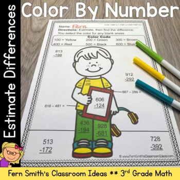 3rd Grade Go Math 1.8 Color By Numbers Rounding to Estimate Differences