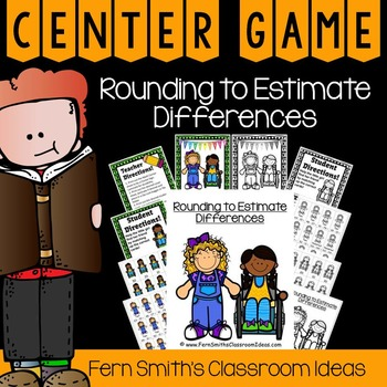 3rd Grade Go Math 1.8 Rounding to Estimate Differences Center and Printables