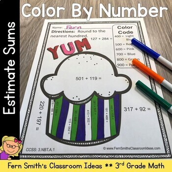 3rd Grade Go Math Chapter One 1.3 Rounding to Estimate Sums Color By Number