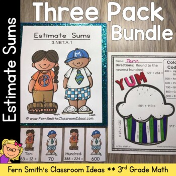 3rd Grade Go Math Chapter 3 Lesson 1.3 Rounding to Estimate Sums Bundle