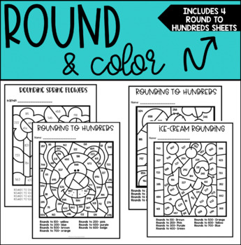 Rounding to Hundreds Coloring Sheets