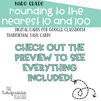 Rounding to Nearest 10/100 Task Cards for Google Classroom Slides No Prep