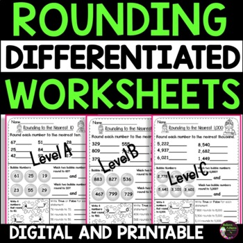 Rounding to Nearest 10,100 and 1,000 Practice (Differentiated)