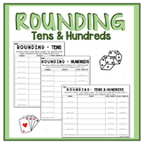 Rounding to Tens and Hundreds Center Worksheets