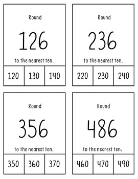 Rounding to nearest 10 and 100 Clip Cards