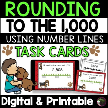 Rounding to nearest 1,000 (using Number lines) Task Cards