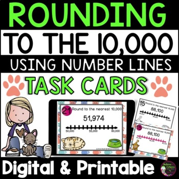 Rounding to nearest 10,000 (using Number lines) Task Cards