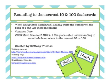 Rounding to nearest 10 &100 Flashcards
